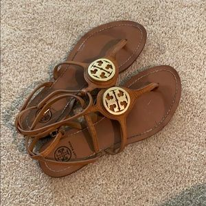 Tory Burch tan sandals with logo